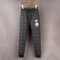 冬季加厚时尚修身小脚白鹅绒羽绒裤