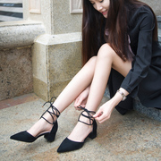 The new Korean pointed heels all-match coarse cross belt Rome shoes sandals in the summer. Students