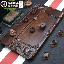 Black sandalwood tea tray Solid wood tea table Simple carved household tea sea large thickened drainage Gongfu tea set