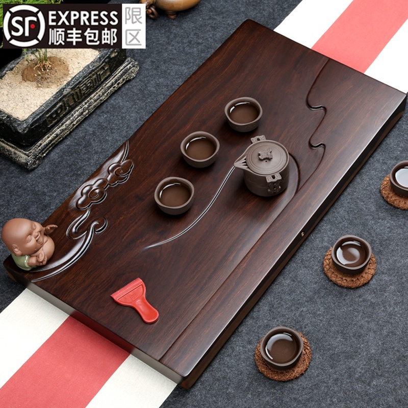 The whole African ebony tea plate solid wood tea table modern simple Wujinshi household tea sea drain kungfu tea set