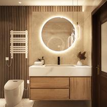 Rock plate one-piece basin Light luxury wood color Bathroom cabinet combination wash basin basin cabinet Bathroom sink sink sink