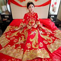 Chinese bride wedding show new wo clothes retro cheongsam dress show kimono wedding gown dragon women toast suit