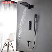 Kai Mercy Hot and cold black thermostatic dark shower sprinkler set all copper embedded wall waterfall sprinkler household