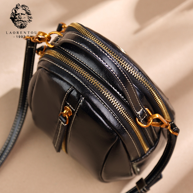 Old Head Mini Bag Girl 2019 New Small Bag Leather Single Shoulder Bag Fashion Handbags Retro Slant Bag Tide