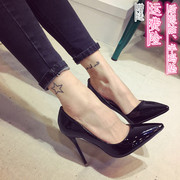 Fine with high heels 8cm black patent leather shoes shoes shoes with 10cm's all-match.