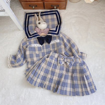 Spring and autumn baby girl cute college style sub-set fashion skirt sailor suit jk wind childrens dress