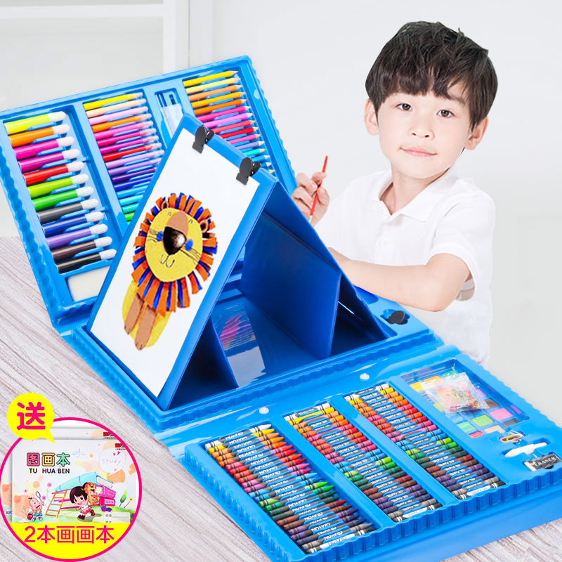 Children's Painting Set Painting Tools Boys Artistic Supplies Painting Brushes Watercolor Pens Primary School Students Learn Gift Box Crayons