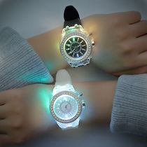 Night glow personality water drill led Korean version silicone creative fashion trend male and female students couple jelly watch