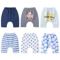 2021 new female baby seven-point pants male children pure cotton halong pants childrens shorts baby pants summer thin section