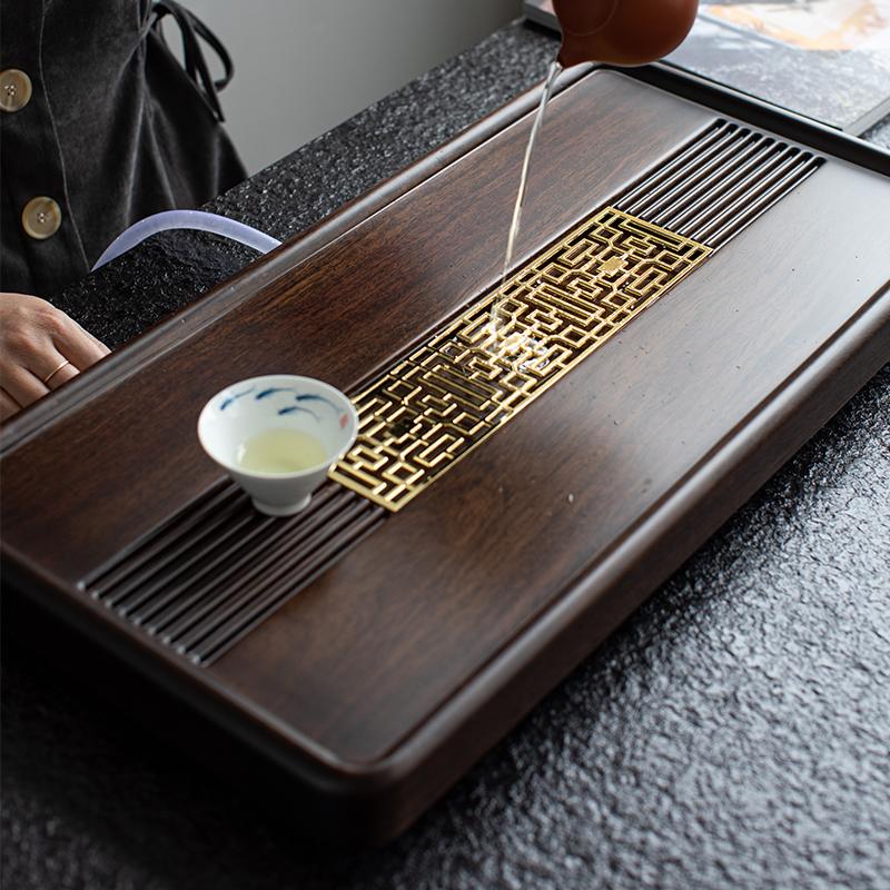 Весь кусок черного сандалового дерева чайная тарелка твердый деревянный чайный стол лоток небольшой домашний чай море дренажный чайный набор легкий роскошный современный