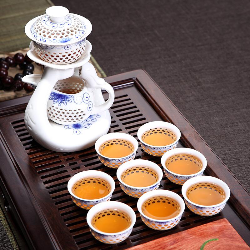 Ceramic Kung Fu Tea Set Teacout Automatic Tea Set Set Hand-Painted Green Flower Lingling Kiln White Porcelain