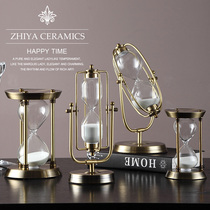 European Metal hourglass timer Decoration Nordic Retro style creative home soft decorations living room furnishings