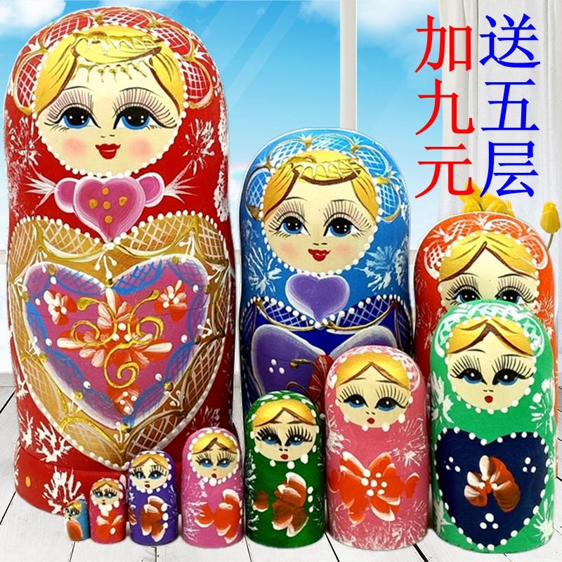 Ensemble russe de dix couches de produits en bois faits à la main purs Cadeaux créatifs 10 couches de jouets de tonalité de secousse ornent le bouleau