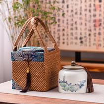 Retro cloth bag packing gift box Ceramic tea sealed pot large half catty black tea green tea single can customized