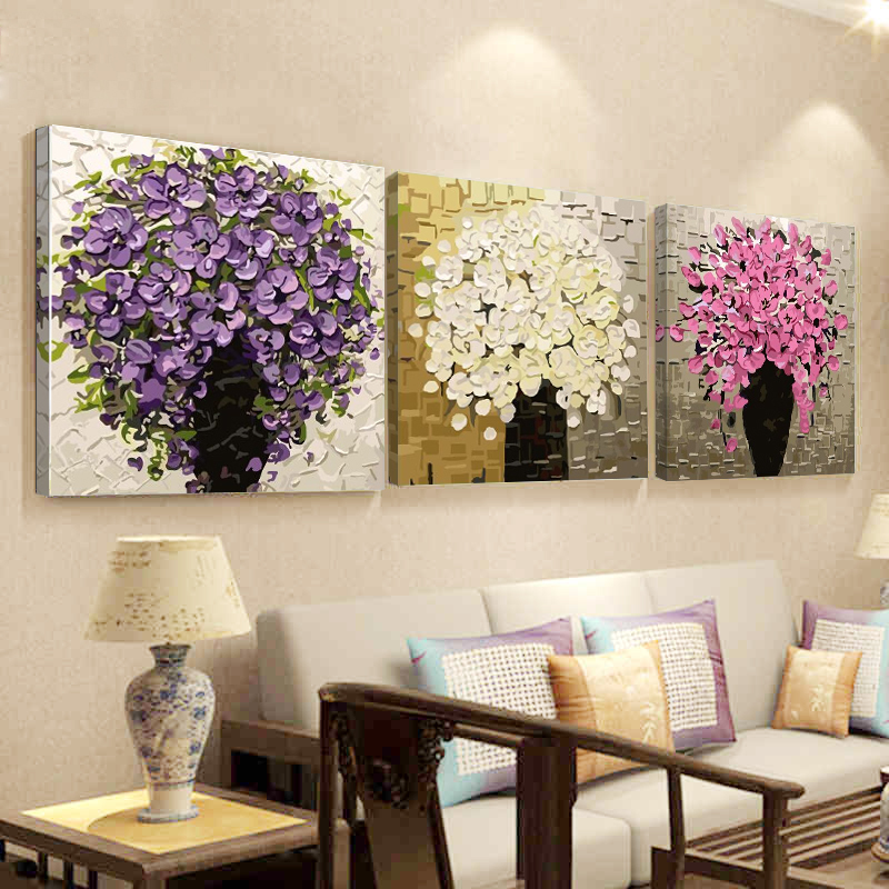 Non-verbal Digital Oil Painting Diy Living Room Flowers Hand-painted Triple Painting Decoration Painting Trees Shade