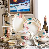 Набор посуды jingdezhen костяной фарфоровой посуды комбинированная подарочная коробка европейская домашняя рисовая миска с палочками для еды простая керамическая посуда