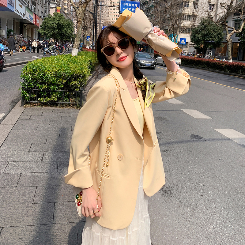 Casual yellow suit jacket women 2021 new spring and autumn Korean version of the loose temperament small suit top