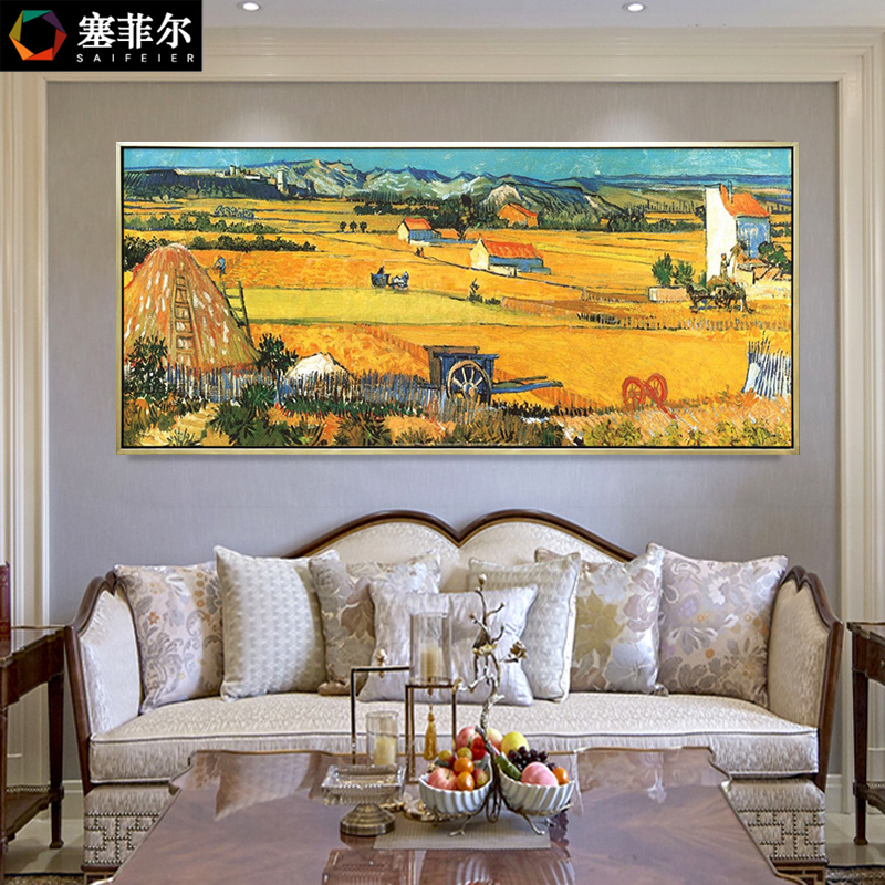 Van Gogh Harvest Hand Painting Decorative Painting Modern Simple European Living Room Background Wall Restaurant Hanging World Famous Paintings