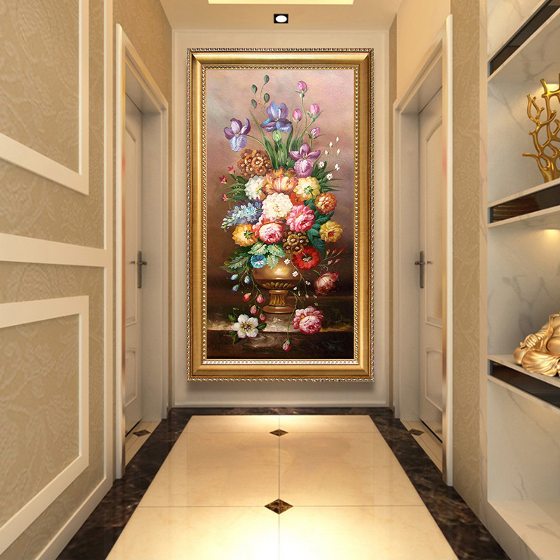 European oil painting porch decoration painting American vertical corridor hanging painting living room frescoes flowers peony flowers blossom rich