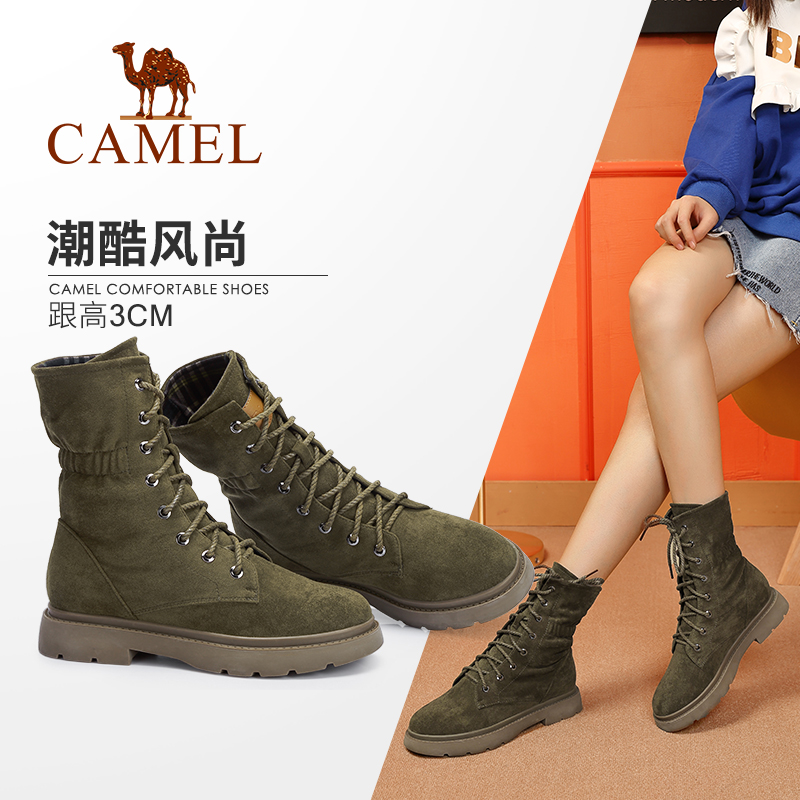 Camel women's shoes 2018 winter new Martin boots Fashion skinny boots Korean version of the wild British wind with women's boots