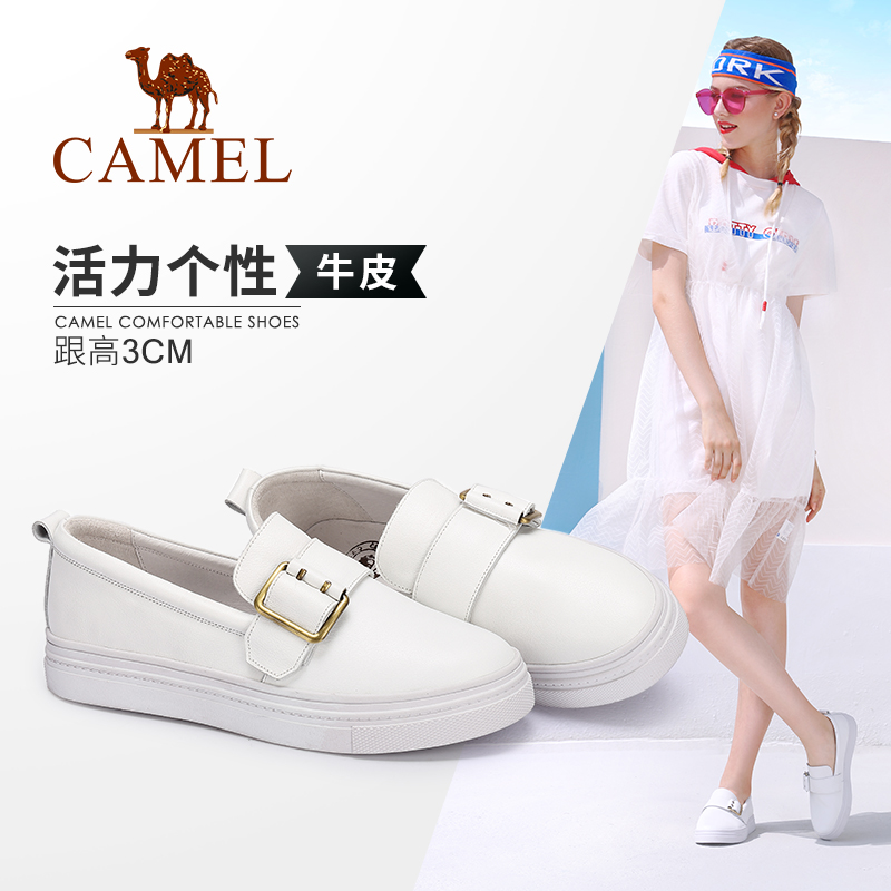 Camel women's shoes 2018 autumn new comfortable casual leather small white shoes metal buckle fashion personality women's shoes