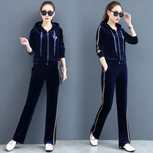 New Leisure and Fashion Golden Velvet Sports Suit in 2019. Women's Spring and Autumn Slim Large Velvet Two-piece Suit