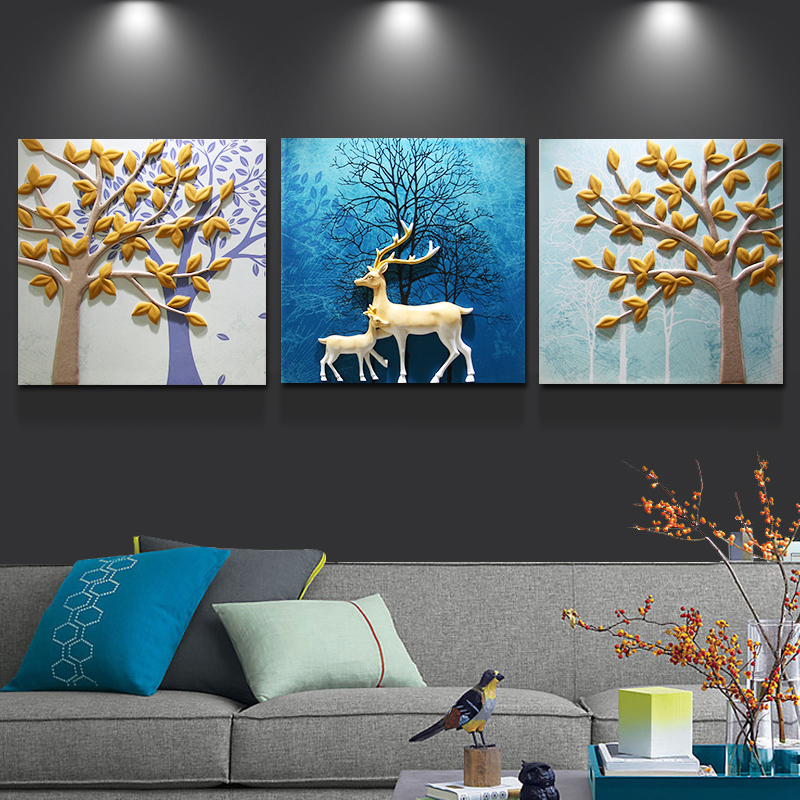 Embossed Decorative Painting Modern Simple Triple Painting Bedroom Restaurant Hanging Murals Stereo Living Room TV Background Wall Deer