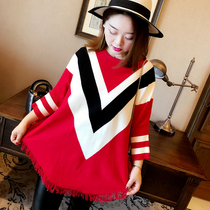 Korean version of the Liberal stripe fat mm burrs in autumn and winter knitted sweater
