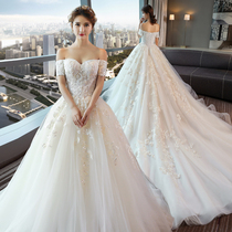 Shoulder long trailing Han version lace Palace simple wedding dress