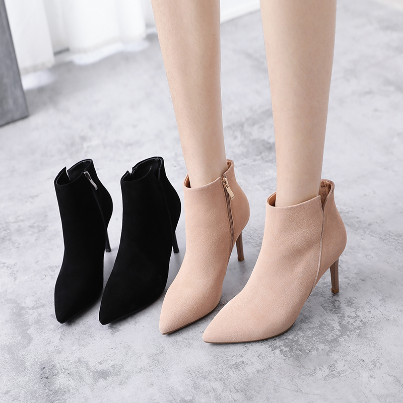 [The goods stop production and no stock]Booties female 2018 new women's shoes fashion pointed women's boots stiletto heels autumn wild boots spring and autumn single boots