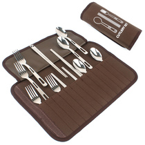 Stainless steel cutlery 4 people with a set outdoor picnic bag portable chopsticks spoon fork picnic barbecue 12-piece set