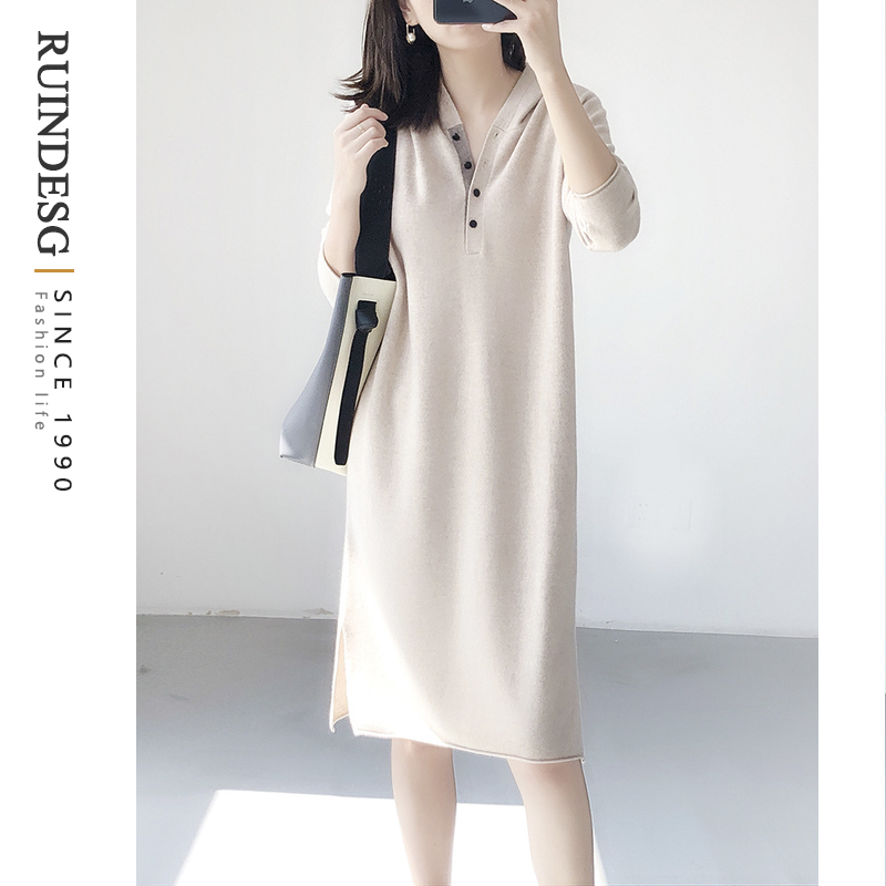 RUINDESG dress winter dress 2020 new knitted wool with a t-shirt female mid-length winter tide