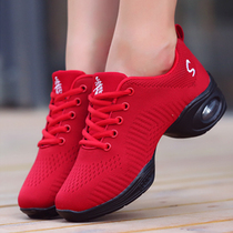 Red Dance shoe mesh soft bottom female breathable adult sailor Dance shoe sports dancing shoes Jazz square dancer Shoes