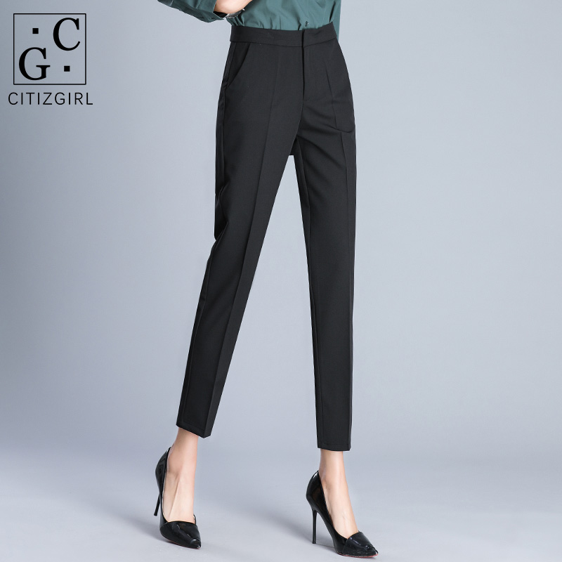Suit pants womens 2021 spring new straight high waist thin smoke pipe summer thin work career nine points small feet pants