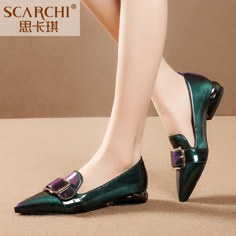 Scarge large fashionable women's shoes, pointed low-heeled lacquer leather shoes, straps buckled, thick-heeled, fashionable and hot Machun single shoes