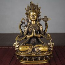 Antique Miscellaneous collection Antique Bronze Buddha Statue Guanyin Two Hands Namaste Gassho Manjushri Samantabhadra Four Arms Four walls Guanyin