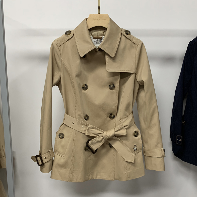 TeenieWeenie bear 2021 spring and autumn new item khaki small short trench coat jacket female TTJT