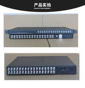 Surveillance camera, 16 channel video splitter, sixteen channel processor, 16 in and 1 out synthesizer, optional VGA