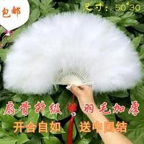 Полный бархат утолщенные перья вентилятор стандартный вентилятор халат подиумный этап шоу танец вентилятор 50 * 30 см