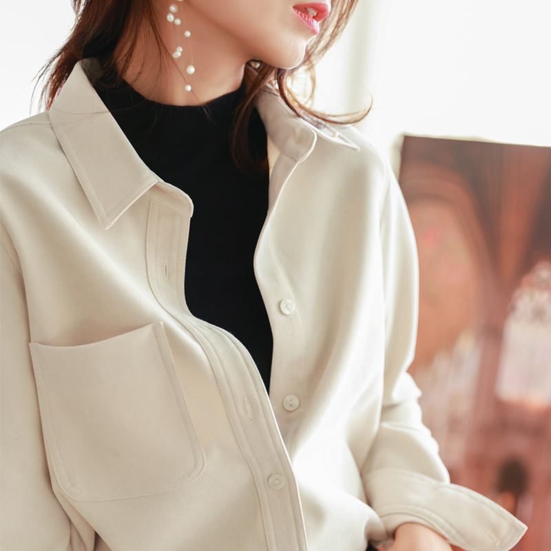Guest for grinding wick velvet loose thin and thick outer long-sleeved shirt female bottom autumn and winter stack wearing shirt