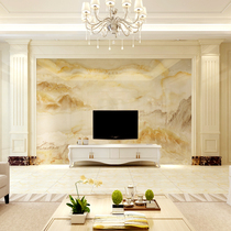 Living room European TV background wall Roman column marble column ceramic tile background wall supporting frame shape