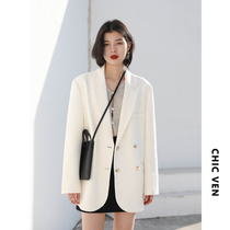 CHICVEN Street casual loose double-breasted white blazer womens long suit top 2021 autumn