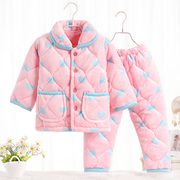 Autumn and winter children flannel pajamas girl boy girl child baby coral velvet suit clip cotton thickened section