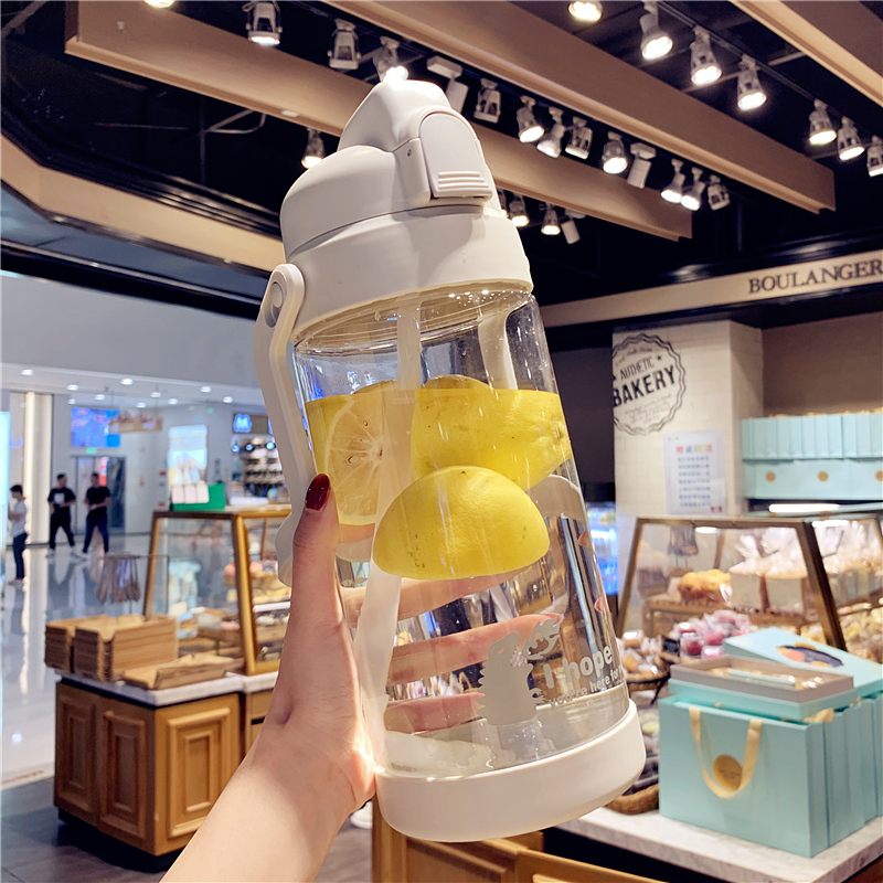 Simple trend adult straw plastic cup Large kettle Readily cup Men and women fitness sports large capacity cup