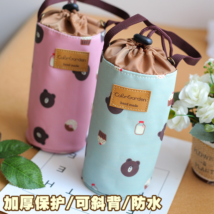 South Korea flower waterproof cup cover with strap can be used to cross body universal heat preservation cup cover water bottle protection cup cover handbag
