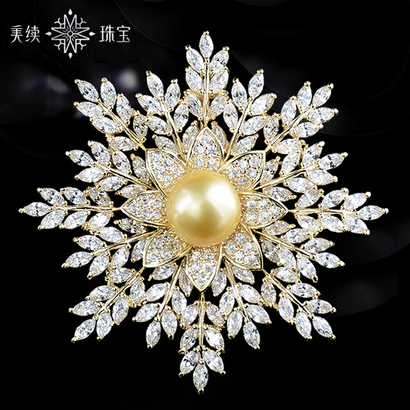 Natural gold pearl temperament snow brooch brooch suit high-end elegant womens accessories luxury ins tide personality