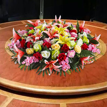 Round table simulation flower hotel dining table display flower artificial flower decoration flower art electric table round table flower hotel table flower