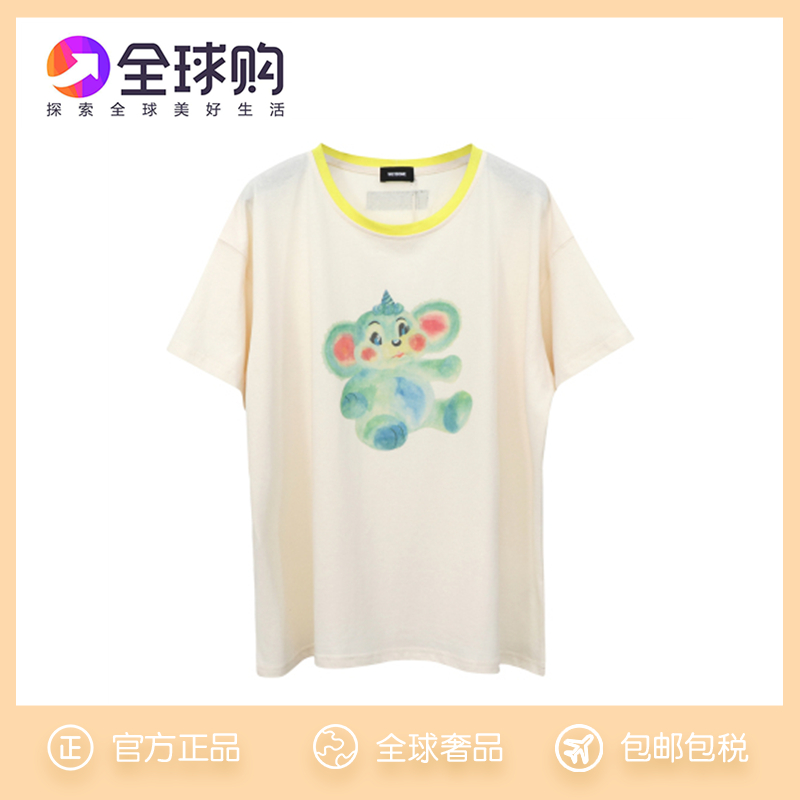 South Korea we11done21SS early spring new painted little monster thin short-sleeved round-neck T-shirt womens top