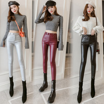 Tide brand Red plus velvet leather pants female 2019 autumn and Winter new Korean version was thin stretch tight high waist small foot leggings