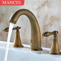 Copper three-hole faucet cold and hot wash basin faucet European toilet split bathroom cabinet three sets